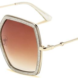 Women Large Hexagon Inspired Sunglasses Fashion Irregular Design Style Geometric B2503 | Amazon (US)