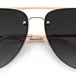 Oversized Rimless Aviator Sunglasses for Women Metal Frame Mirror Lens Unique Design Style | Amazon (US)