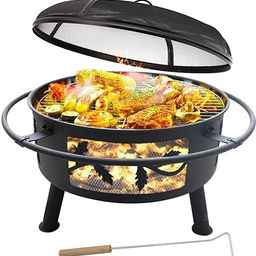 """Outdoor Fire Pit with Cooking Grate - 30""""Outdoor Heavy Duty Fire Pits BBQ Grill with Log Grate ... 