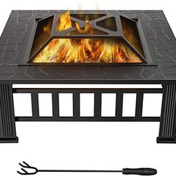 WINWEND Fire Pit Outdoor Wood Burning, 32in Firepit with Spark Screen, Waterproof Cover, Poker, S... | Amazon (US)