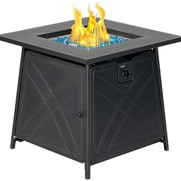 BALI OUTDOORS Gas Fire Pit Table, 28 inch 50,000 BTU Square Outdoor Propane Fire Pit Table with L... | Amazon (US)