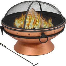 Sunnydaze Large Copper Finish Outdoor Fire Pit Bowl - Round Wood Burning Patio Firebowl with Port... | Amazon (US)