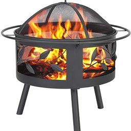 Fire Pits Outdoor Wood Burning Grill - Steel BBQ Firepit Bowl with Mesh Spark Screen Cover Log Gr... | Amazon (US)