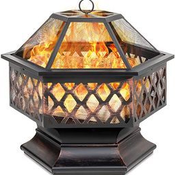 Best Choice Products Hex-Shaped 24in Steel Fire Pit for Garden, Backyard, Poolside w/Flame-Retard... | Amazon (US)