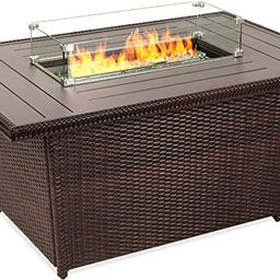 Best Choice Products 52in 50,000 BTU Outdoor Wicker Patio Propane Gas Fire Pit Table w/Aluminum T... | Amazon (US)