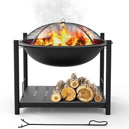 """Portable Outdoor Wood Fire Pit - 2-in-1 Steel BBQ Grill 26"""" Wood Burning Fire Pit Bowl w/ Mesh Sp... 
