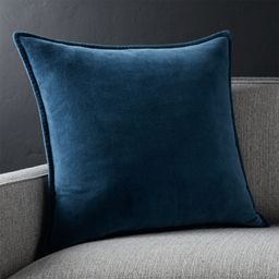 "Brenner Indigo Blue 20"" Velvet Pillow with Down-Alternative Insert. + Reviews   Crate and Barrel   Crate & Barrel"