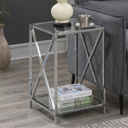 Canada Bay Glass Top End Table with Storage   Wayfair North America