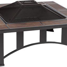 Fire Sense - Tuscan Tile Square Fire Pit - Black | Best Buy U.S.