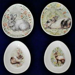 Pottery Barn Set Of 2 Floral Bunny Rabbit Egg Shaped Plates & 2 Matching Bowls  | eBay | eBay US
