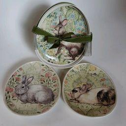 "4 Pottery Barn Floral Bunny Rabbit Oval Egg Shaped 8.5"" Plates NEW in BOX   | eBay | eBay US"