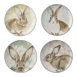 Damask Bunny Mixed Appetizer Plates, Set of 4 | Williams-Sonoma