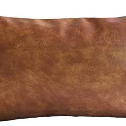 Kdays Thick Brown Faux Leather Lumbar Pillow Cover Cognac Leather Decorative Throw Pillow Case Fa...   Amazon (US)
