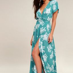 Heart of Marigold Turquoise Floral Print Wrap Maxi Dress   Lulus (US)