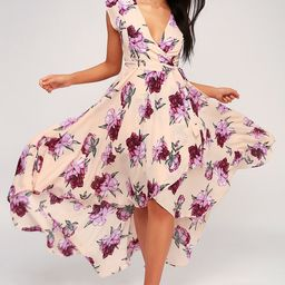 French Countryside Blush Floral Print High-Low Dress   Lulus (US)