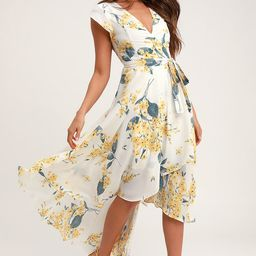 French Countryside White and Yellow Floral Print High-Low Dress   Lulus (US)