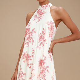Darling Dearest Blush Pink and White Floral Print Swing Dress   Lulus (US)