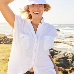 Linen-Blend Utility Short-Sleeve Shirt for Women   Old Navy (US)