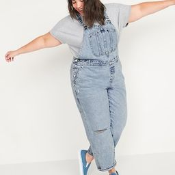 Light-Wash Ripped Workwear Plus-Size Jean Overalls | Old Navy (US)
