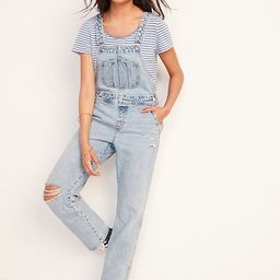 Light-Wash Ripped Workwear Jean Overalls for Women | Old Navy (US)