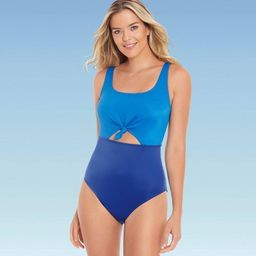 Women's Slimming Control Colorblock Cut Out One Piece Swimsuit - Beach Betty by Miracle Brands Bl... | Target