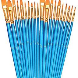 BOSOBO Paint Brushes Set, 2 Pack 20 Pcs Round Pointed Tip Paintbrushes Nylon Hair Artist Acrylic ... | Amazon (US)