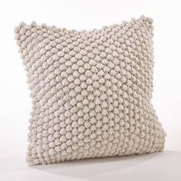 Crochet Down Filled Pom-Pom Throw Pillow Ivory - Saro Lifestyle   Target