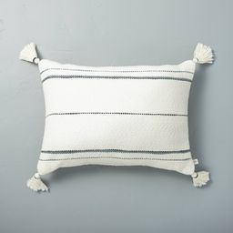 """14"""""""" x 20"""""""" Dotted Stripes with Tassels Throw Pillow Sour Cream/Blue - Hearth & Hand with Magnolia   Target"""