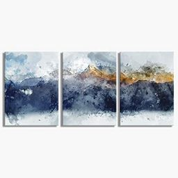 Abstract Canvas Wall Art for Living Room Modern Navy Blue Abstract Mountains Print Poster Picture...   Amazon (US)
