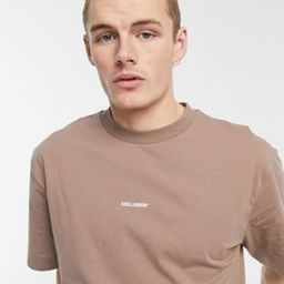 COLLUSION oversized t-shirt with logo print in brown | ASOS (Global)