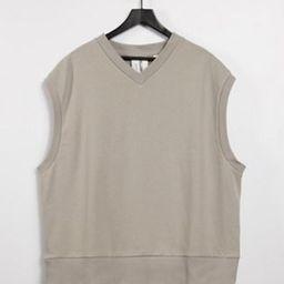 COLLUSION Unisex oversized sleeveless sweatshirt in mushroom co-ord | ASOS (Global)