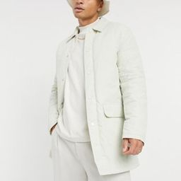 ASOS DESIGN padded trench coat with quilted lining in stone | ASOS (Global)