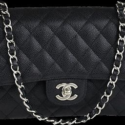 Chanel Classic Double Flap Quilted Caviar Silver-tone Medium Black   StockX