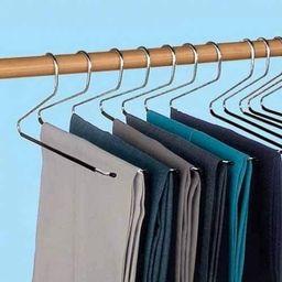 LavoHome Premium 12 Piece Set Slacks Hangers Black Chrome Open Ended Pants Easy Slide Organizers | Amazon (US)