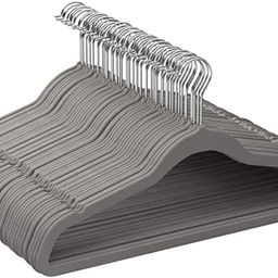 Amazon Basics Slim, Velvet, Non-Slip Clothes Suit Hangers, Grey/Silver - Pack of 50 | Amazon (US)