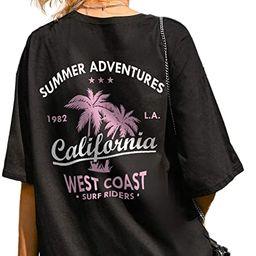 SheIn Women's Figure Novelty Graphic Oversized Half Sleeve T Shirt Tunic Tops | Amazon (US)