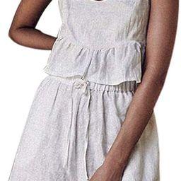 Women's 2 Piece Outfit Summer Cotton Linen Sleeveless Crop Top with Shorts Set Loose Beach Clothe... | Amazon (US)