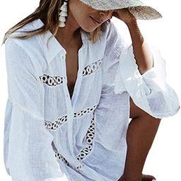 BUTTZO Women's Cotton Beachwear Bikini Swimwear Beach Club Sexy Lace Cover up Tops Bathing Suit | Amazon (US)