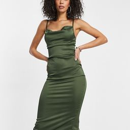 Parisian Tall satin cami strap midi dress with cowl neck in olive   ASOS (Global)