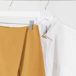 ASOS DESIGN Tall wrap front skort in dark mustard | ASOS (Global)