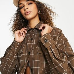 ASOS DESIGN tailored suit shacket in brown grid | ASOS (Global)