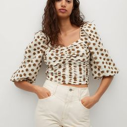 Ruched polka-dot blouse | MANGO (US)
