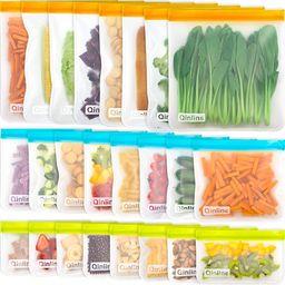 Reusable Food Storage Bags - 24 Pack BPA FREE Flat Freezer Bags(8 Reusable Gallon Bags + 8 Leakpr... | Amazon (US)