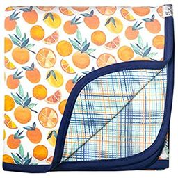 """Large Premium Knit Baby 3 Layer Stretchy Quilt Blanket""""Citrus"""" by Copper Pearl 