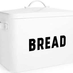 Bread Box for Kitchen Countertop - Extra Large Keeps 2+ Loaves Fresh - White Metal Bread Box Stor... | Amazon (US)