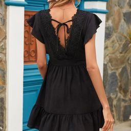 Contrast Lace Tie Back A-line Dress | SHEIN