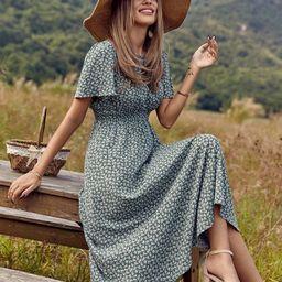 Ditsy Floral Print Shirred Waist Dress | SHEIN