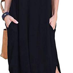 GRECERELLE Women's Casual Loose Pocket Long Dress Short Sleeve Split Maxi Dresses | Amazon (US)