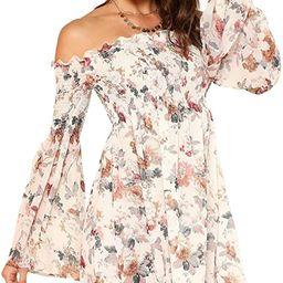Romwe Women's Casual Floral Print Off Shoulder Trumpet Sleeve Swing Dress | Amazon (US)