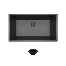 "848-BL-CFL Black Quartz 33"" L x 18"" W Undermount Granite Sink with Flange   Wayfair North America"